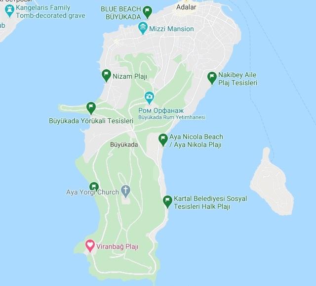 бююкада пляжі на карті -1