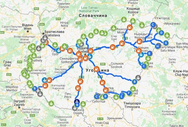 транзит через угорщину маршрути