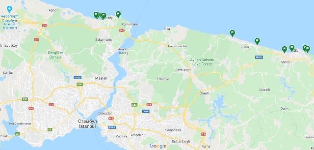 пляжи стамбулу на карті